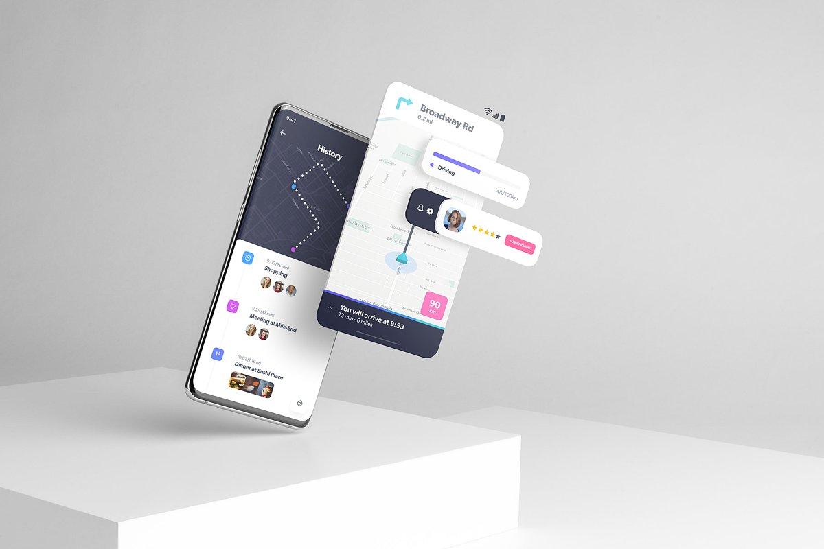 三星Galaxy S10 +模型包浮屏显示效果APP UI  设计效果图展示手机样机android-smartphone-mockup