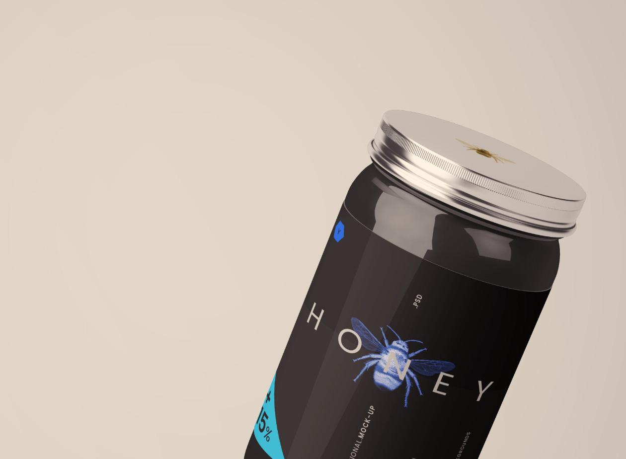 优质蜂蜜包装样机高端多种蜂蜜包装方案Glass Jar Mockup(1)