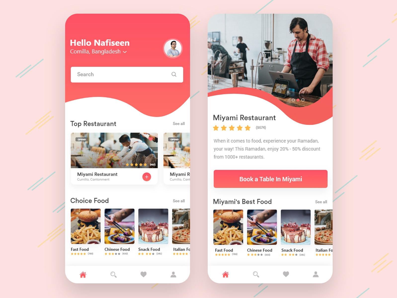 餐厅应用APP首页 Restaurant App