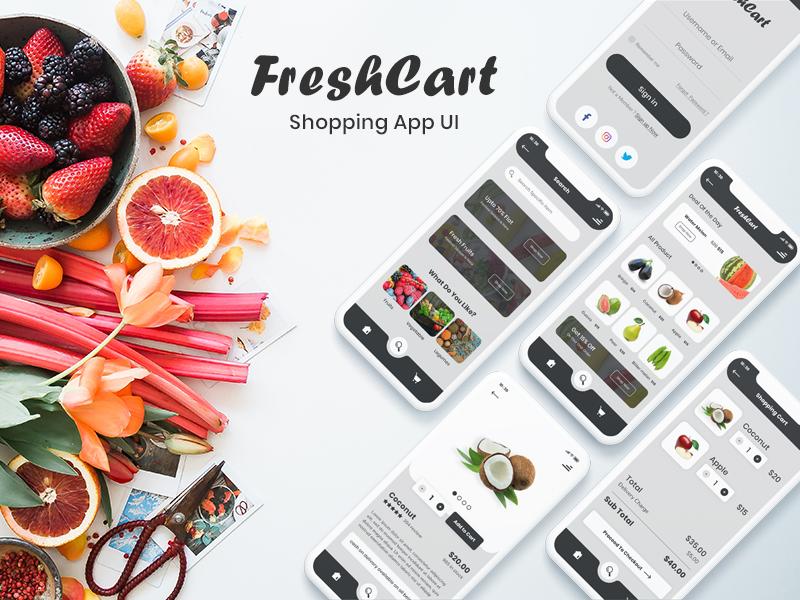 电子商务平台的购物应用UI套件 FreshCart - Shopping App UI Kits for eCommerce Platform