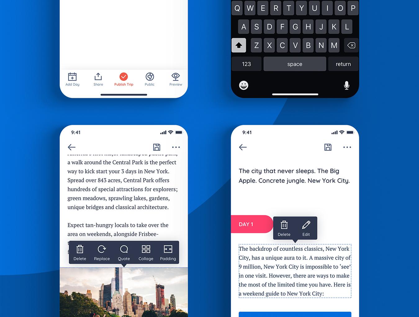 蓝色扁平化IOS风格旅游APP Triplan 2.0
