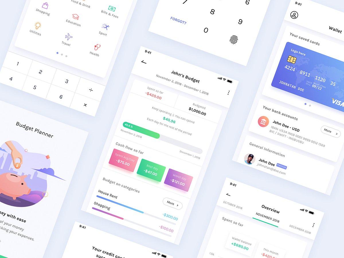 金融产品相关APP界面设计BudgetPlanner Mobile UI Kit