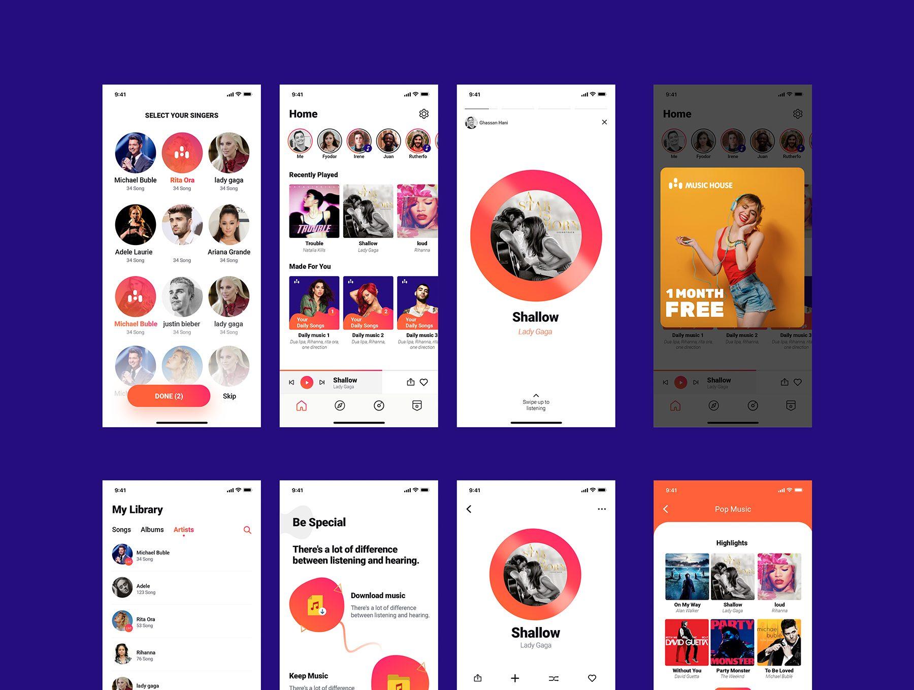 音乐APP界面娱乐屏幕UI设计作品集Music House