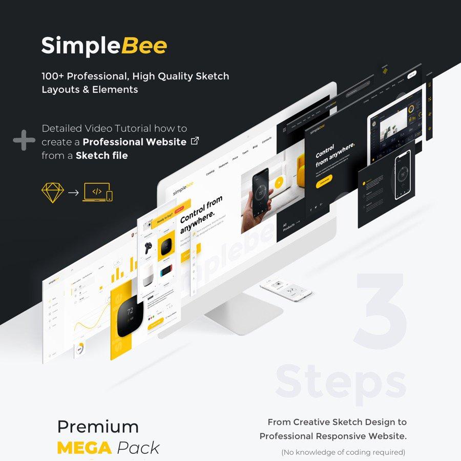 WEB端 SimpleBee - 高级Mega Pack 100+布局和组件