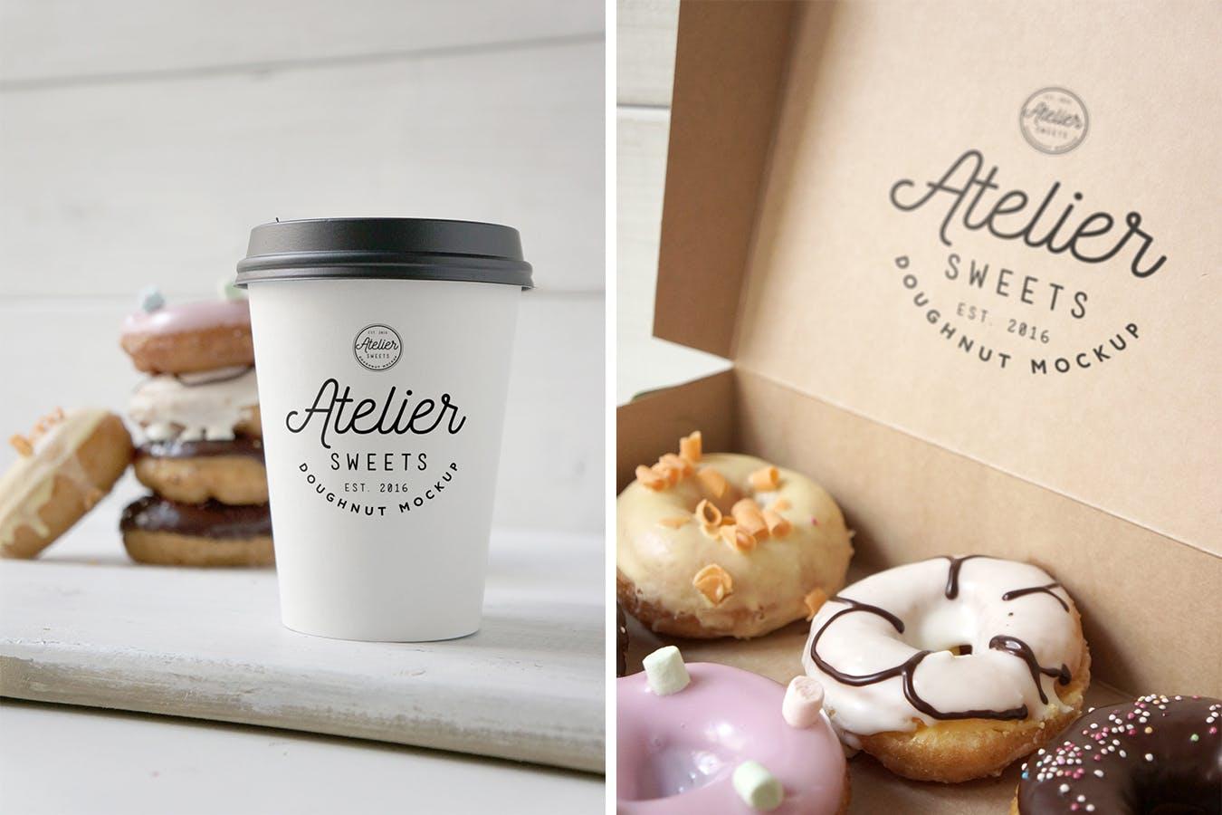 咖啡甜点样机模板展素材模板展示样机Coffee Doughnut Mockup