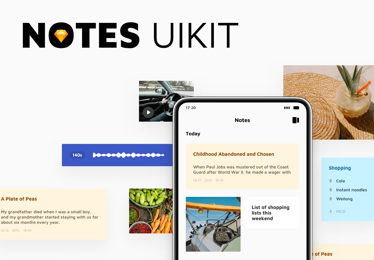 极致简洁实用的笔记ui工具包APP界面模板Notes UI Kit