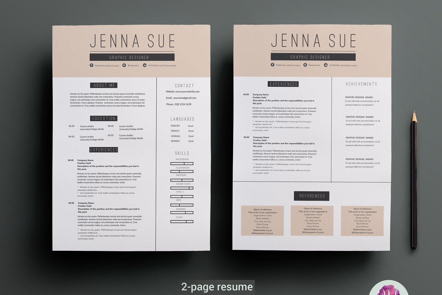 高端精品简历模板展示2-page-resume-template(1)