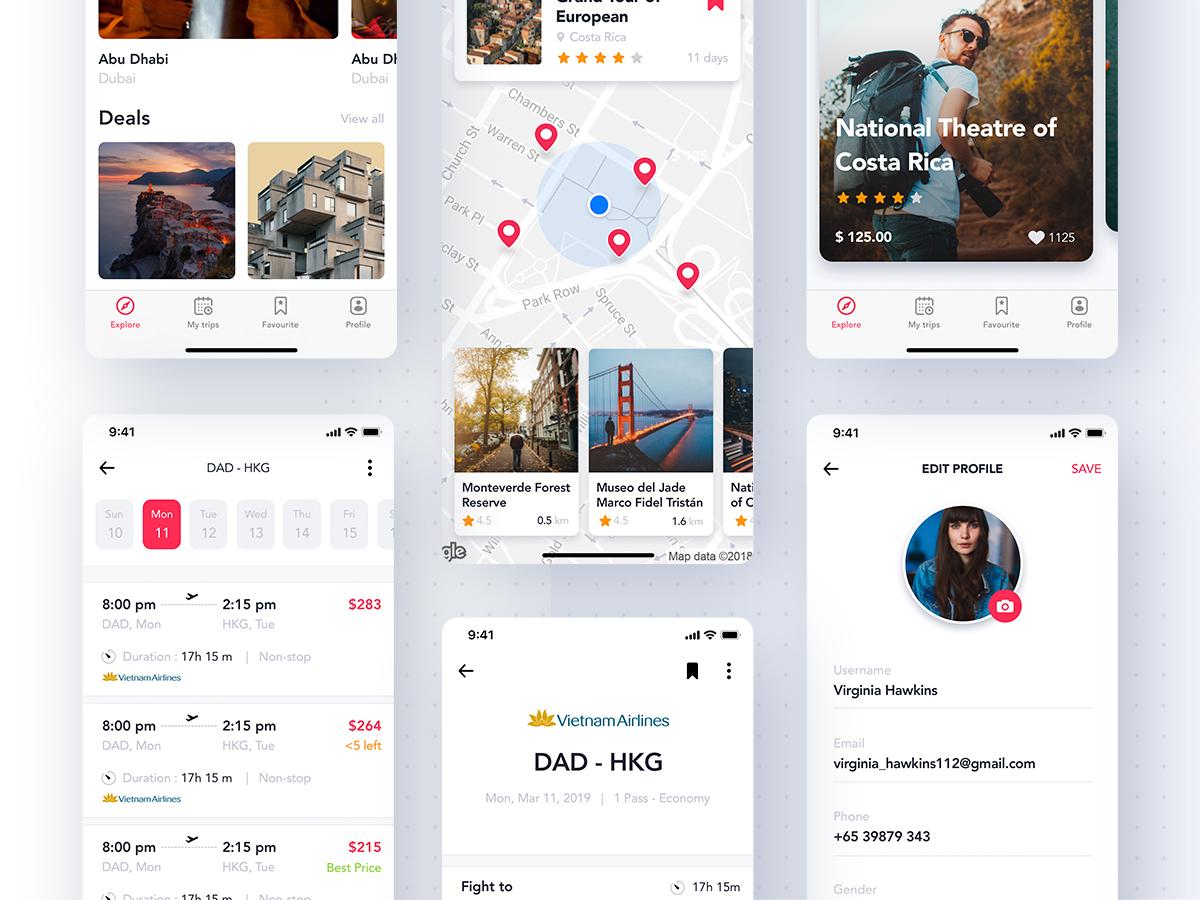 一款旅游行业APP Travel App的旅行和机票预订UI