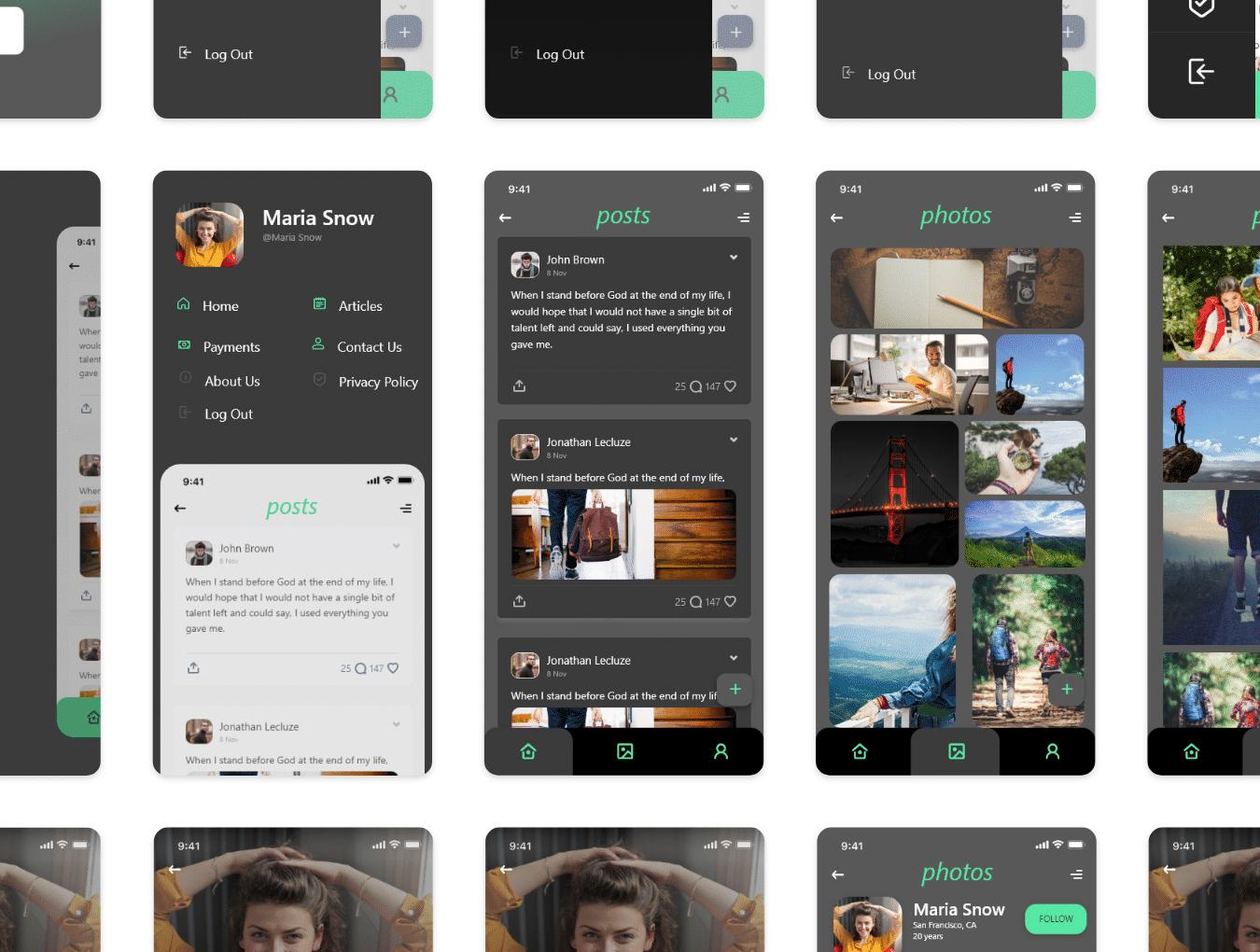 IOS12风格简约绿色旅游行业APP Travelr App UI Kit