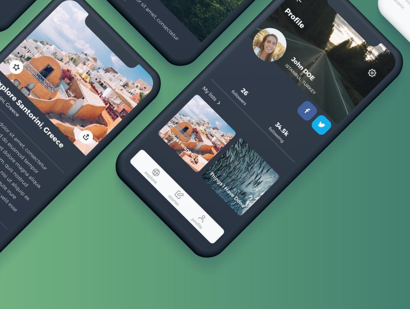 绿色时尚简约风格旅行APP UI 工具包 Voyago Travel App