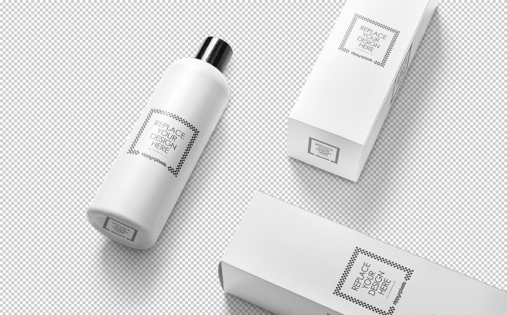 洗化用品场景包装样机及展示效果  化妆品素材274-vertical-bottle-mockup-free