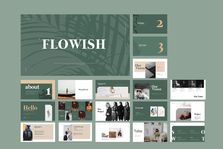 欧美时尚简约风格PPT模版 Flowish Portofolio Slide