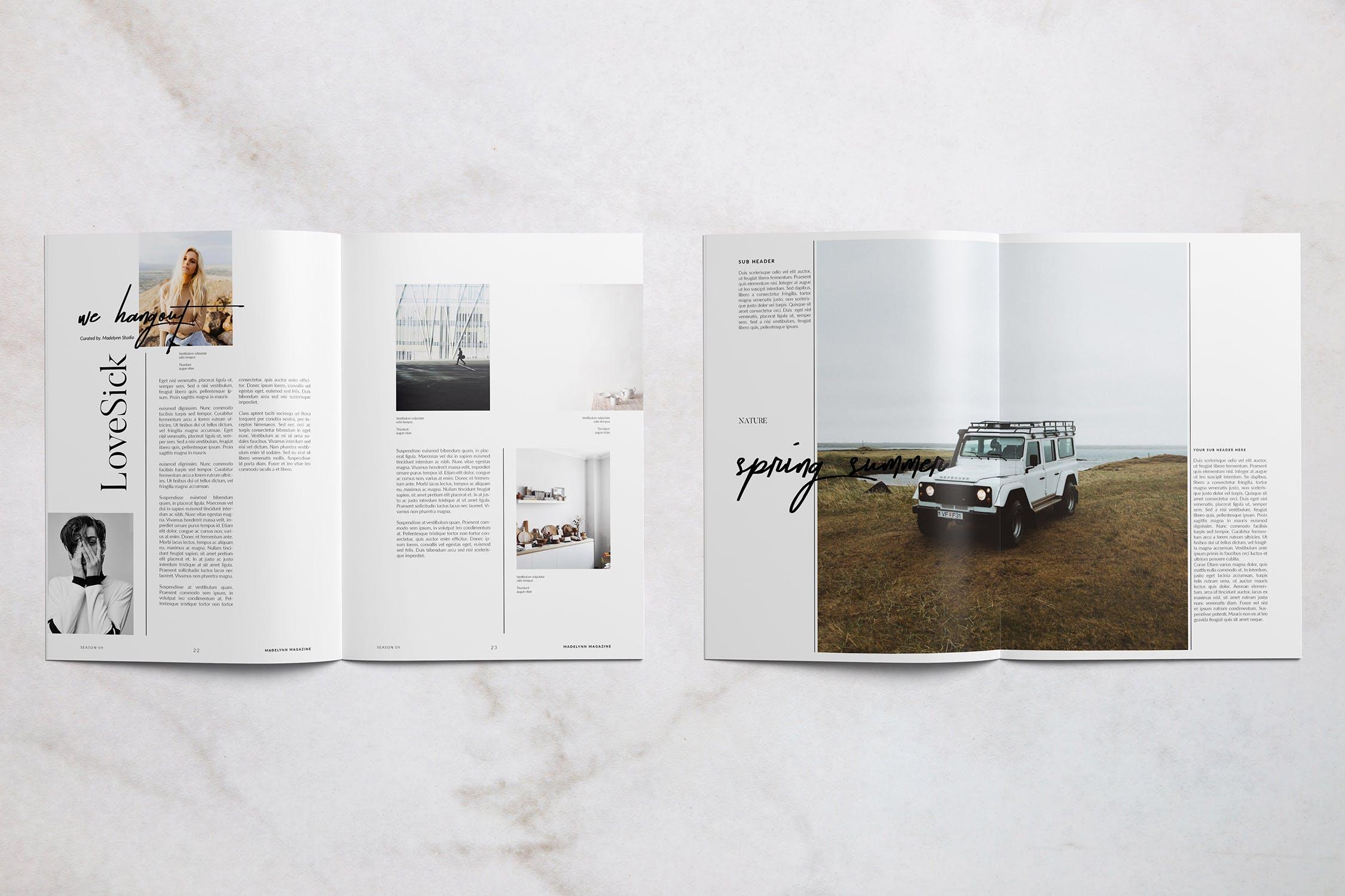 高端女性服装展示杂志样机模板elements-madelynn-magazine-L9ZTMM