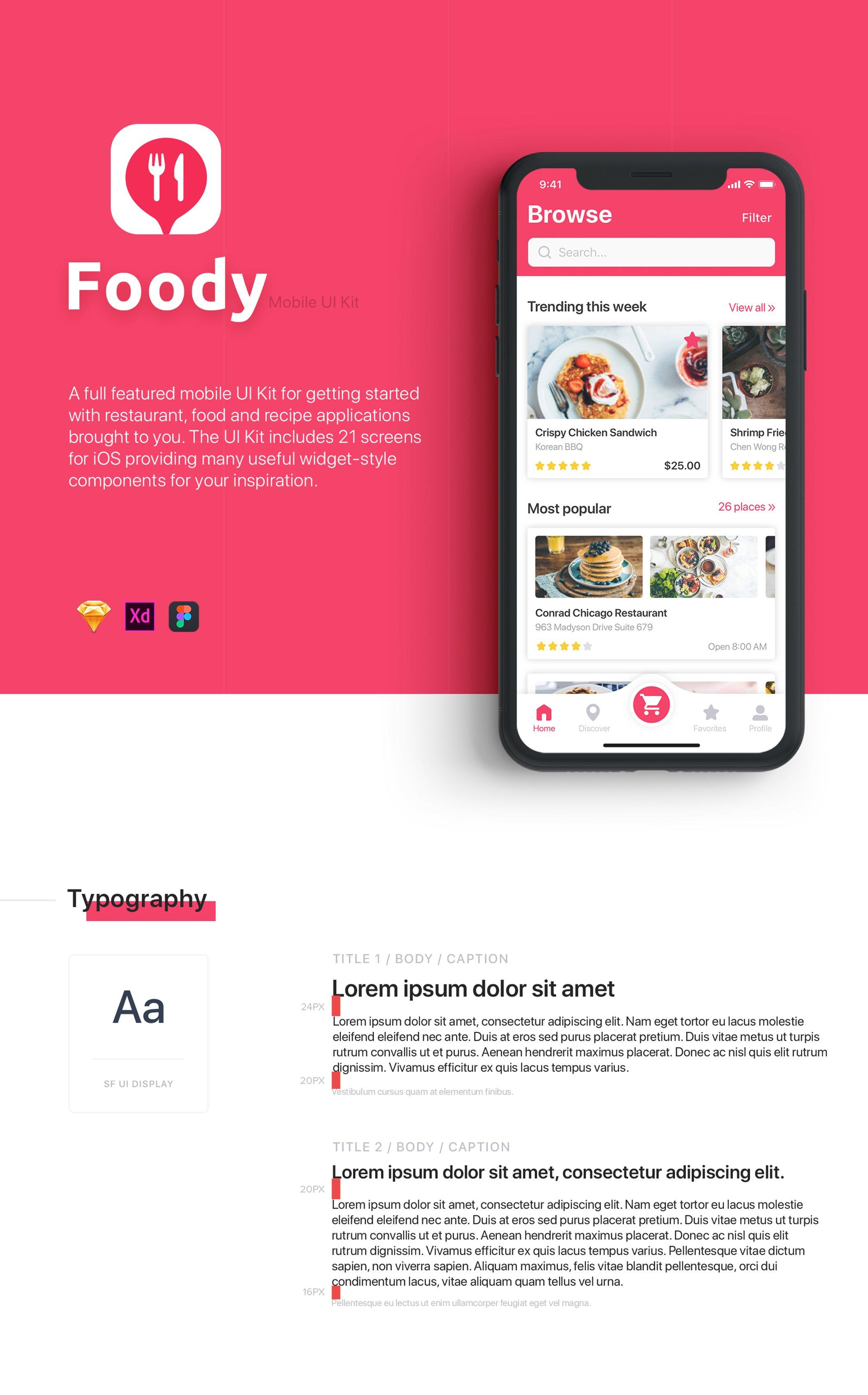 红色IOS风格餐饮行业APP Foody  Food App UI Kit