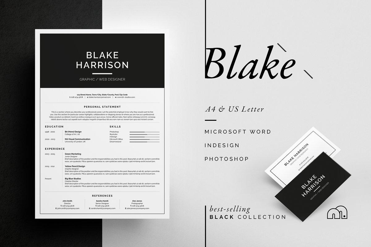 国外畅销系列黑白简历Resume/CV - Blake