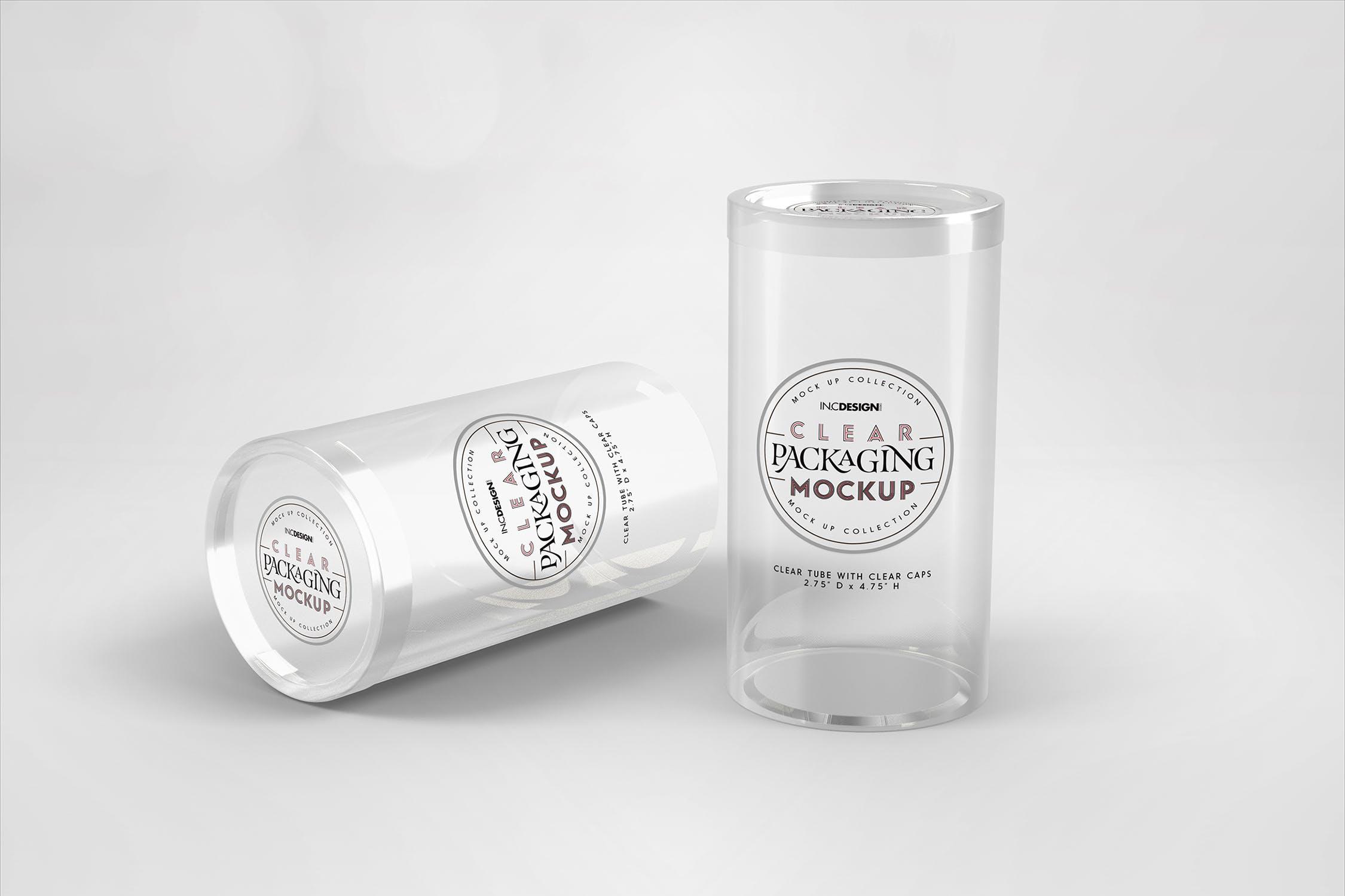 带透明盖帽样品的透明圆筒包装样机素材模板展示Clear Cylinder Packaging with Clear Caps Mockup