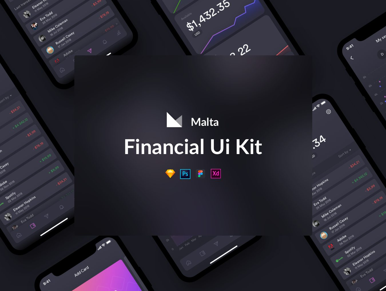 黑色金融行业APP Malta Financial UI Kit