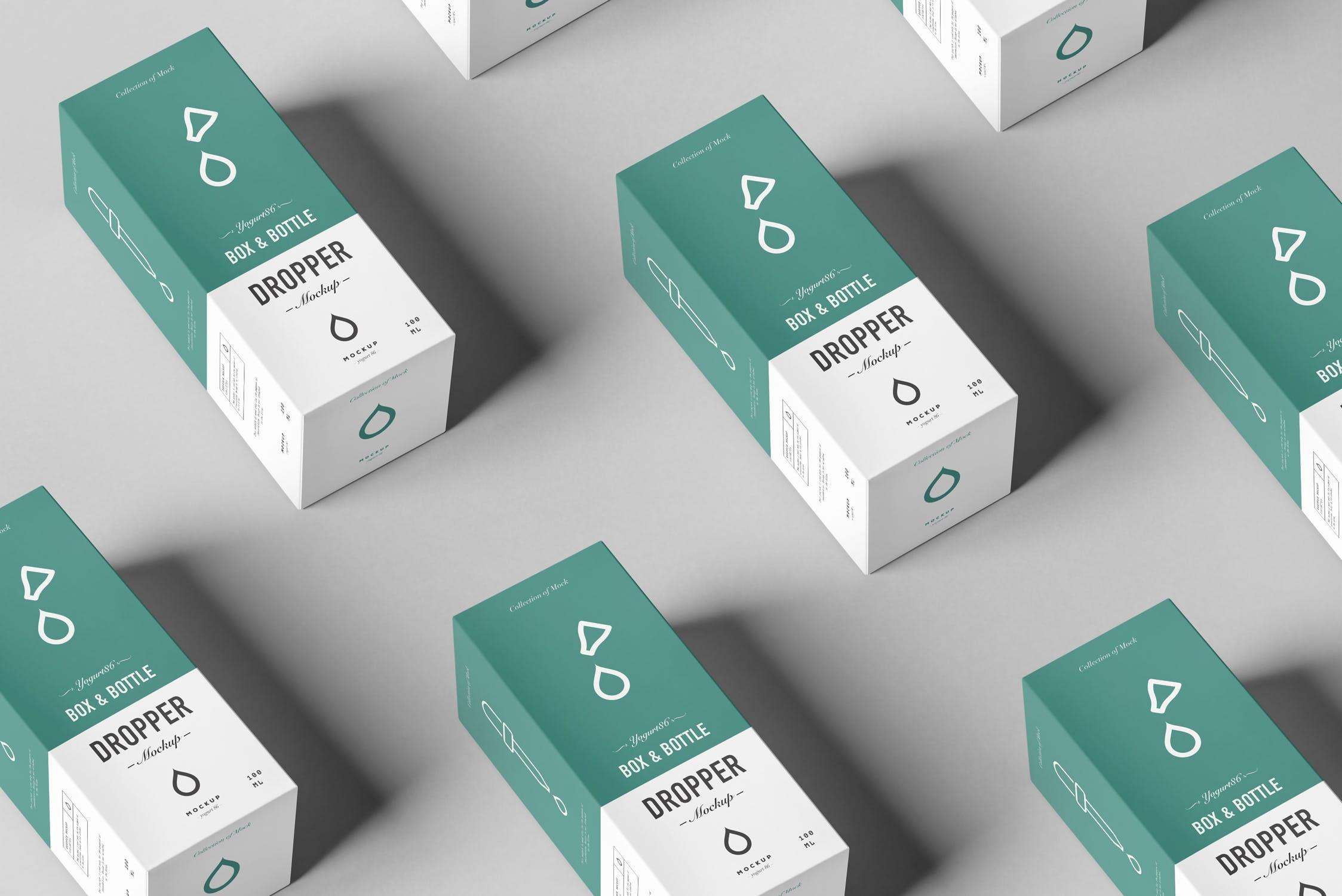 滴管瓶洗化用品  药品包装盒样机模板展示素材3Dropper Bottle Mock-up 3