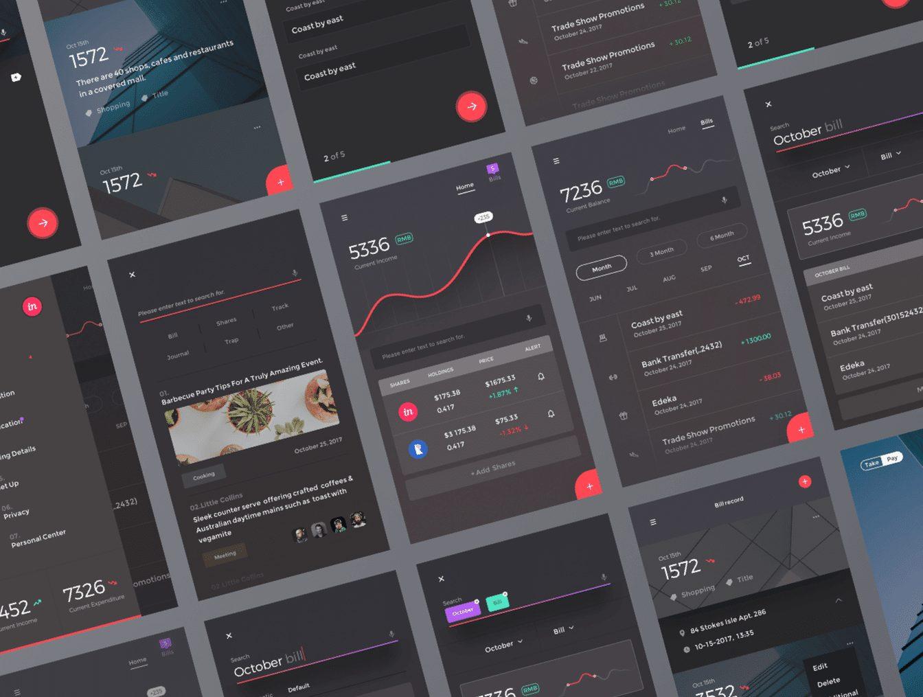 一款精美的金融产品App UI套件 Financial App Design