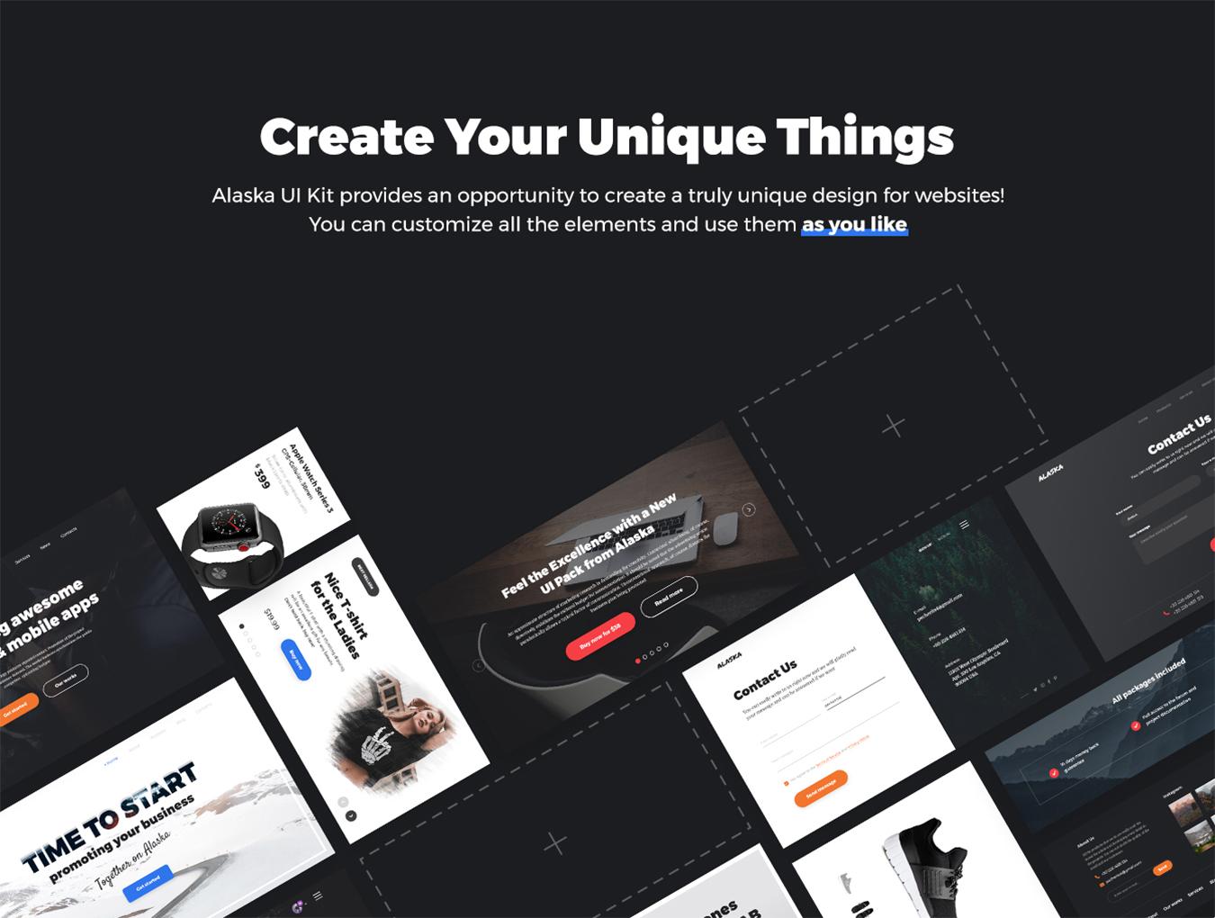 高品质WEB端电商购物网站和移动端APP UI套件 Alaska UI Kit