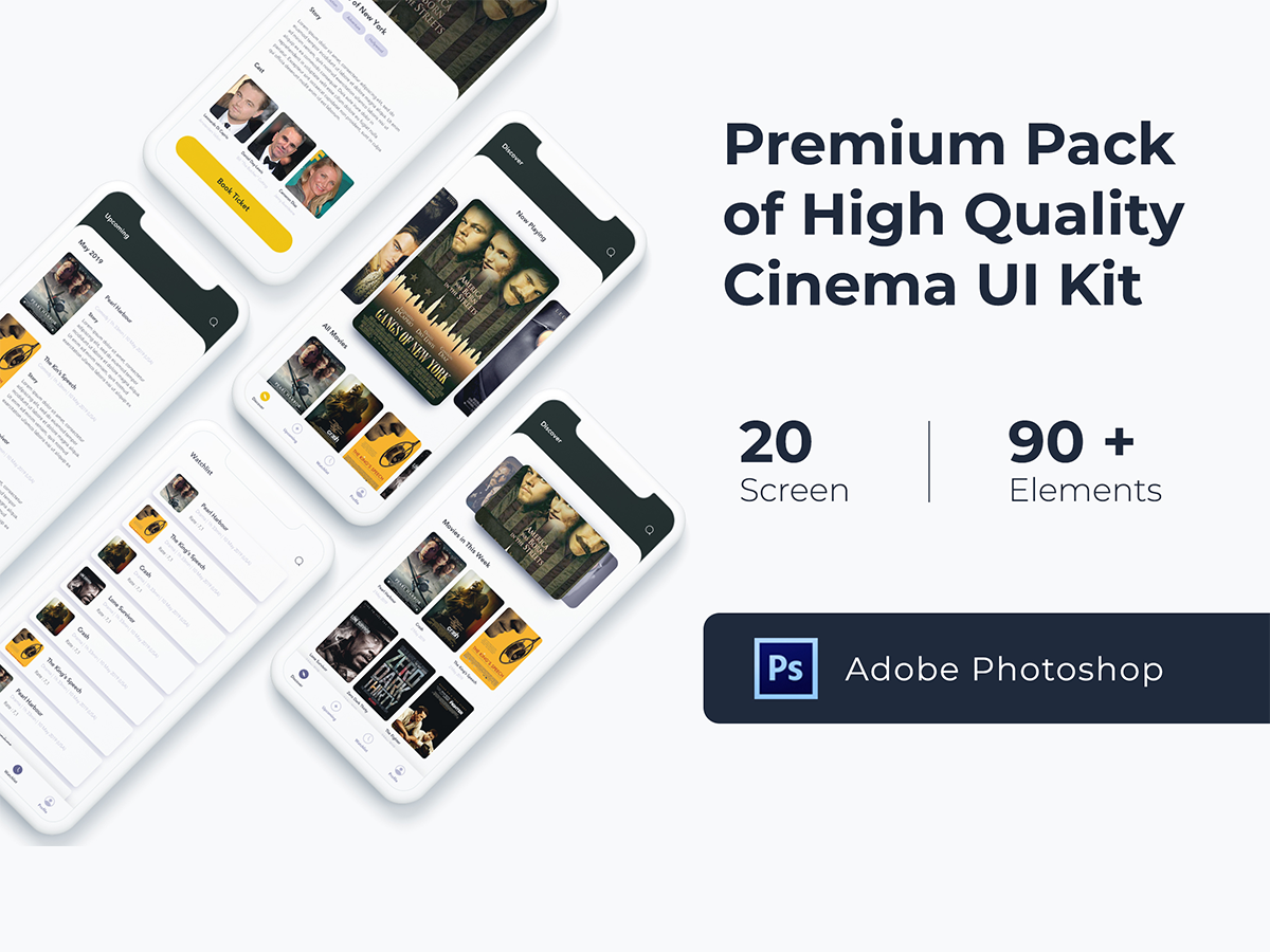 一款国外IOS风格高品质影院APP High Quality Cinema UI KIT
