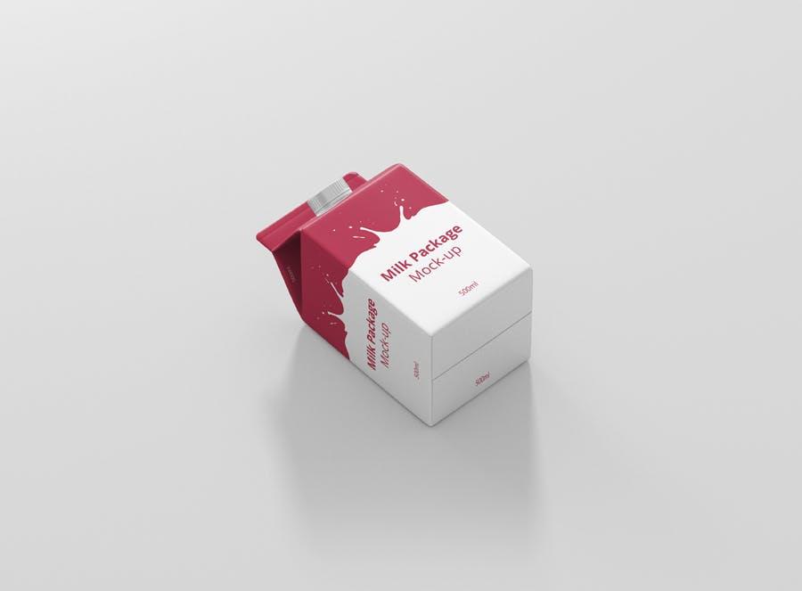 果汁/牛奶样机 -  500毫升纸箱 素材智能贴图样机Juice / Milk Mockup - 500ml Carton Box