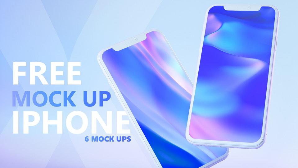 渐变苹果X样机展示模板IPHONE X MOCK UPS009