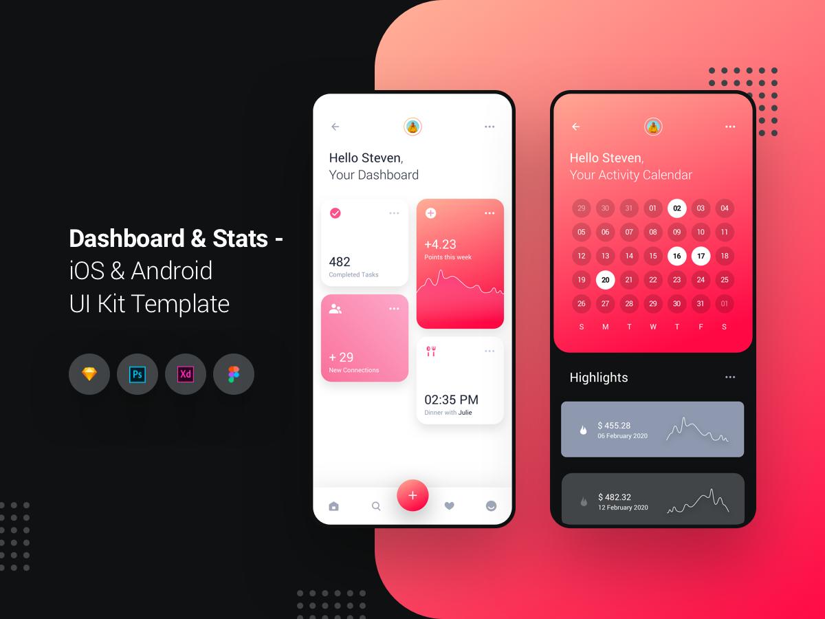 个性化仪表板统计界面UI -iOS和Android UI工具包 Dashboard Stats APP