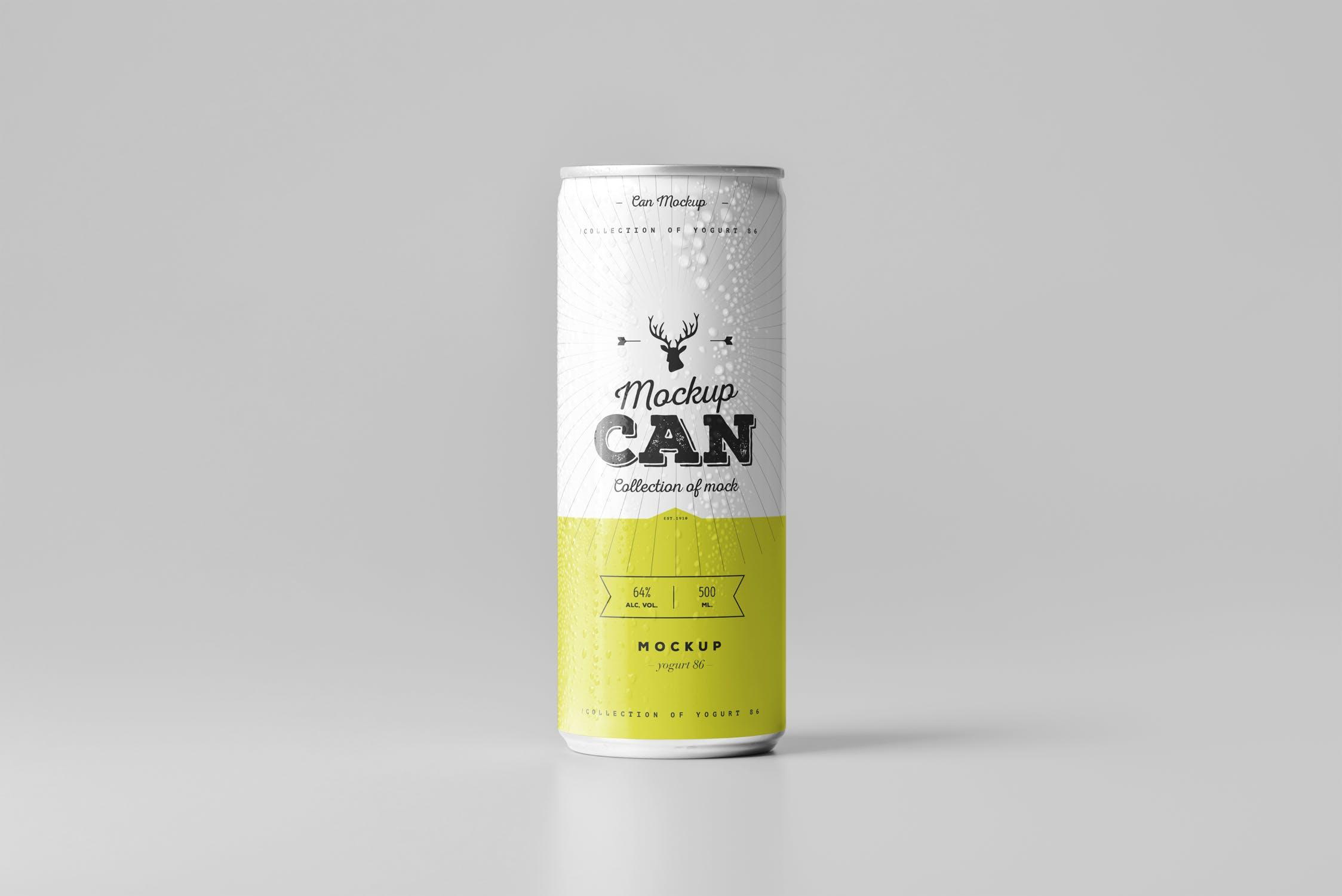 多场景排列啤酒样机模板展示效果图Can Mock-up 3