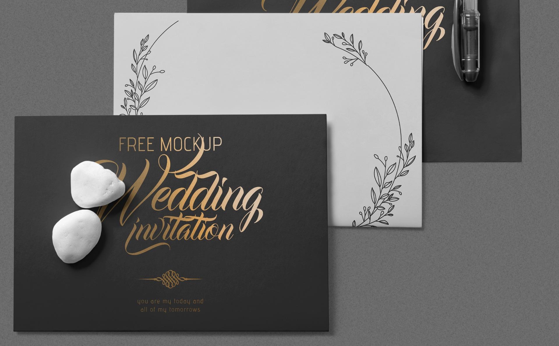 优雅唯美的婚礼邀请卡信封样机Elegant Wedding Invitation Mockup
