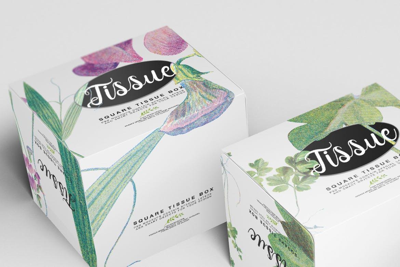 堆叠方形纸巾盒样机素材模板展示效果  Square Tissue Box Mockup