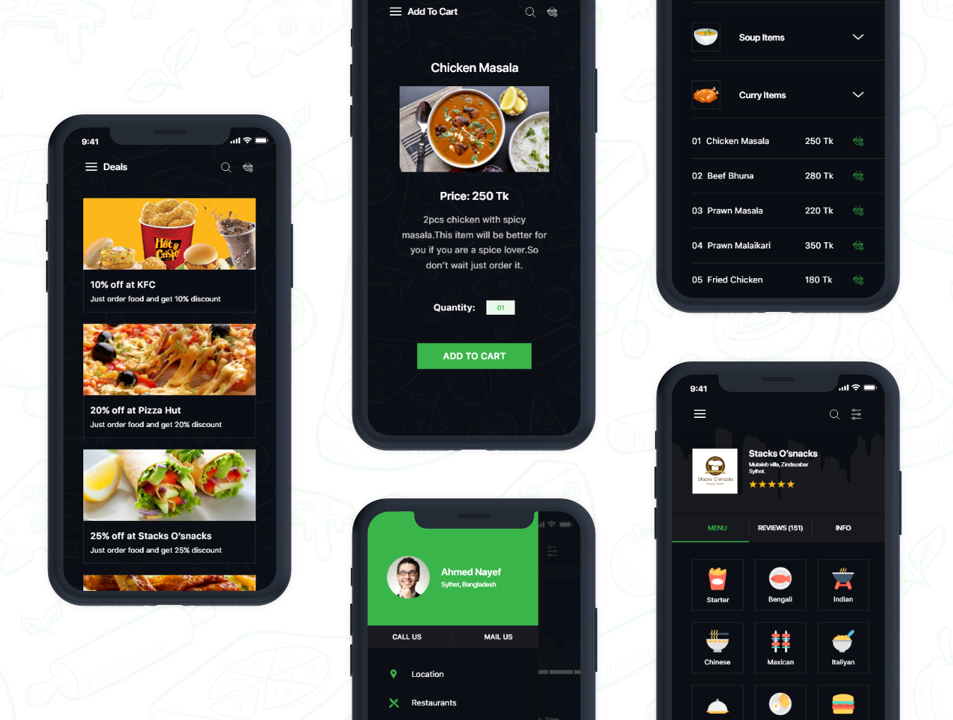 绿色IOS风格饮食行业APP Big Bite iOS UI Kit