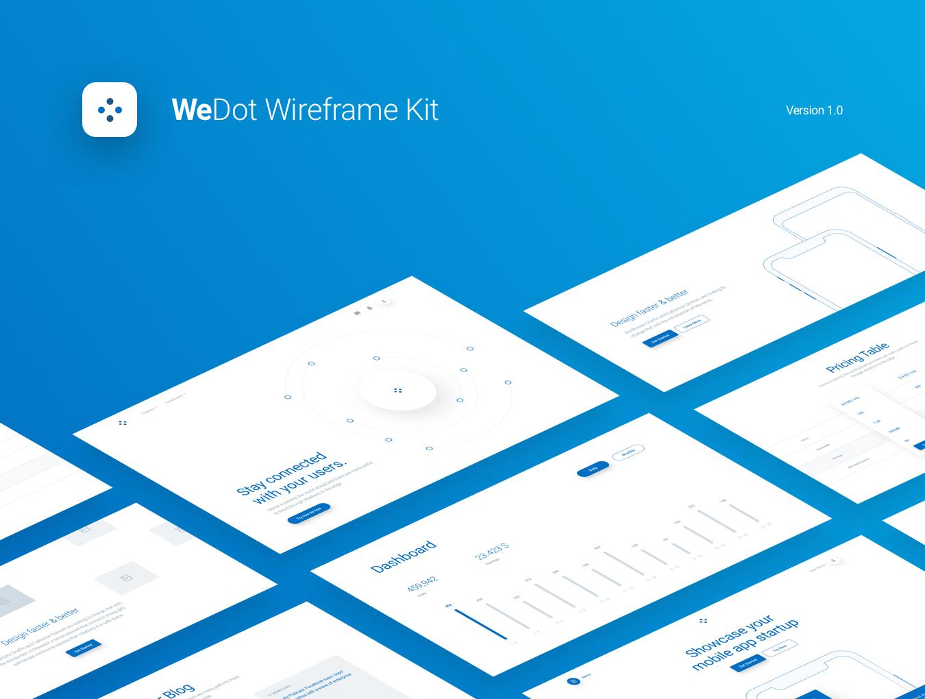 WEB端移动设备线框图UI WeDot Wireframe UI Kit