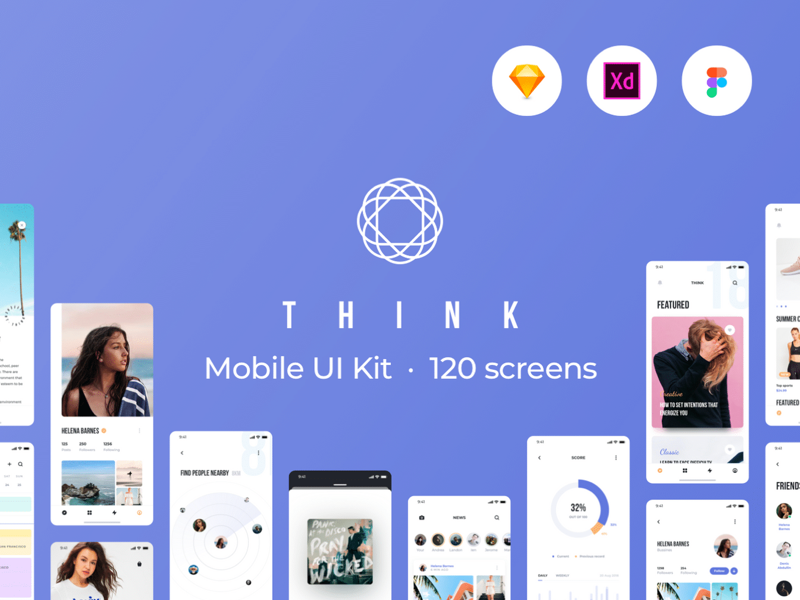 一款时尚简约风服装购物UI THINK Mobile UI Kit