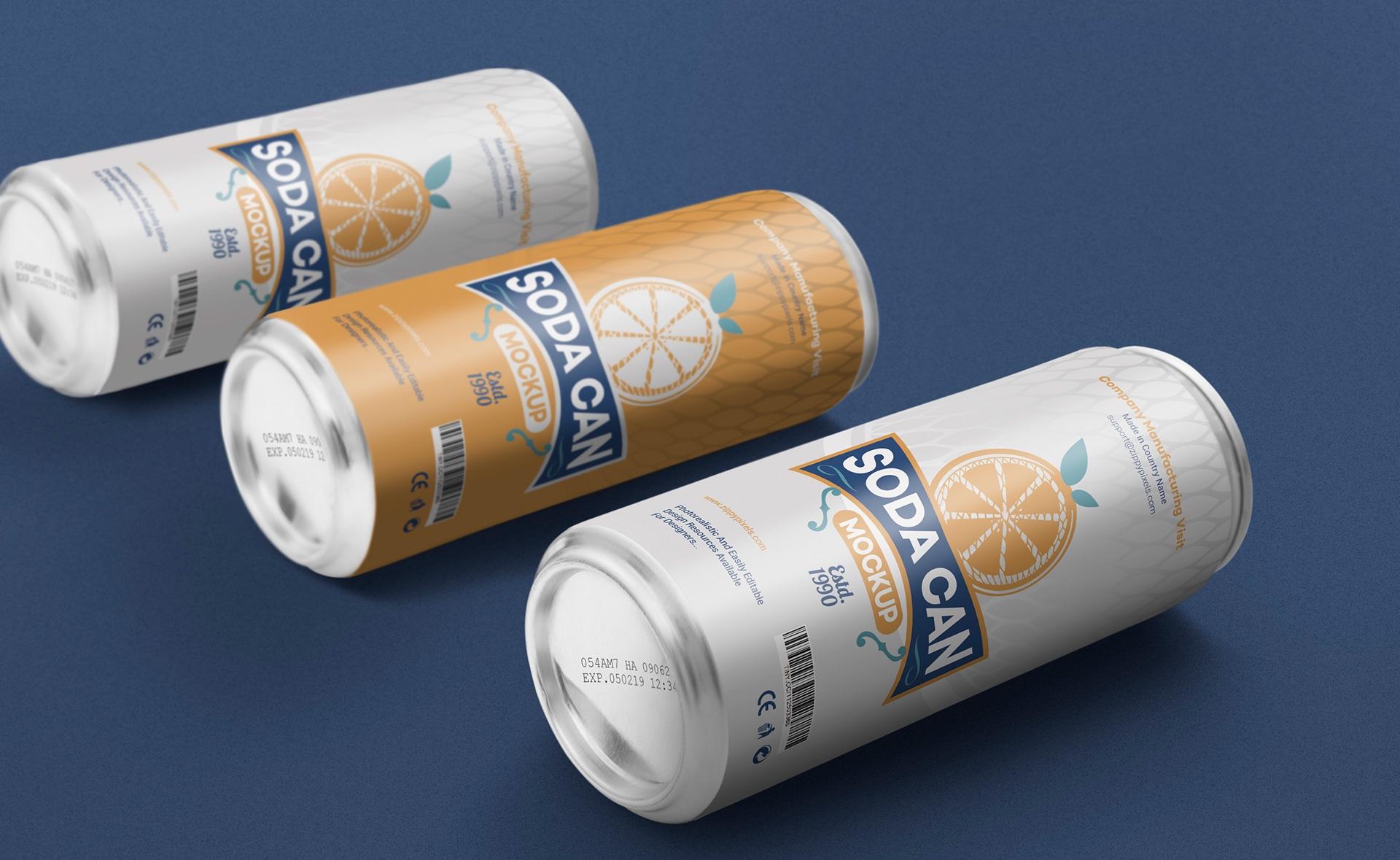 精致优雅饮料瓶酒包装样机359-soda-can-large-mockup-free
