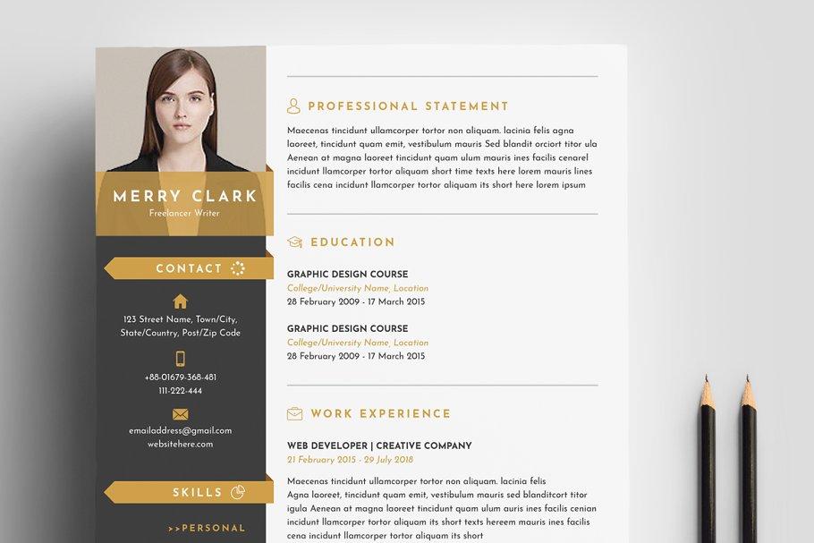 经典配色简历模板展示Modern-Resume-Template-3-Pages (1)