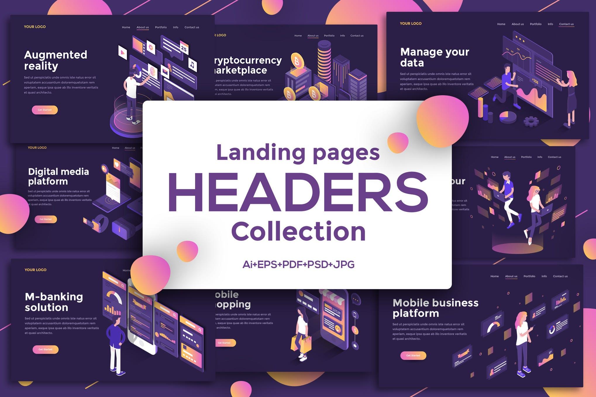 WEB端2.5D卡通人物城市场景插画风格 比特币金融行业UI Landing page templates, dark theme