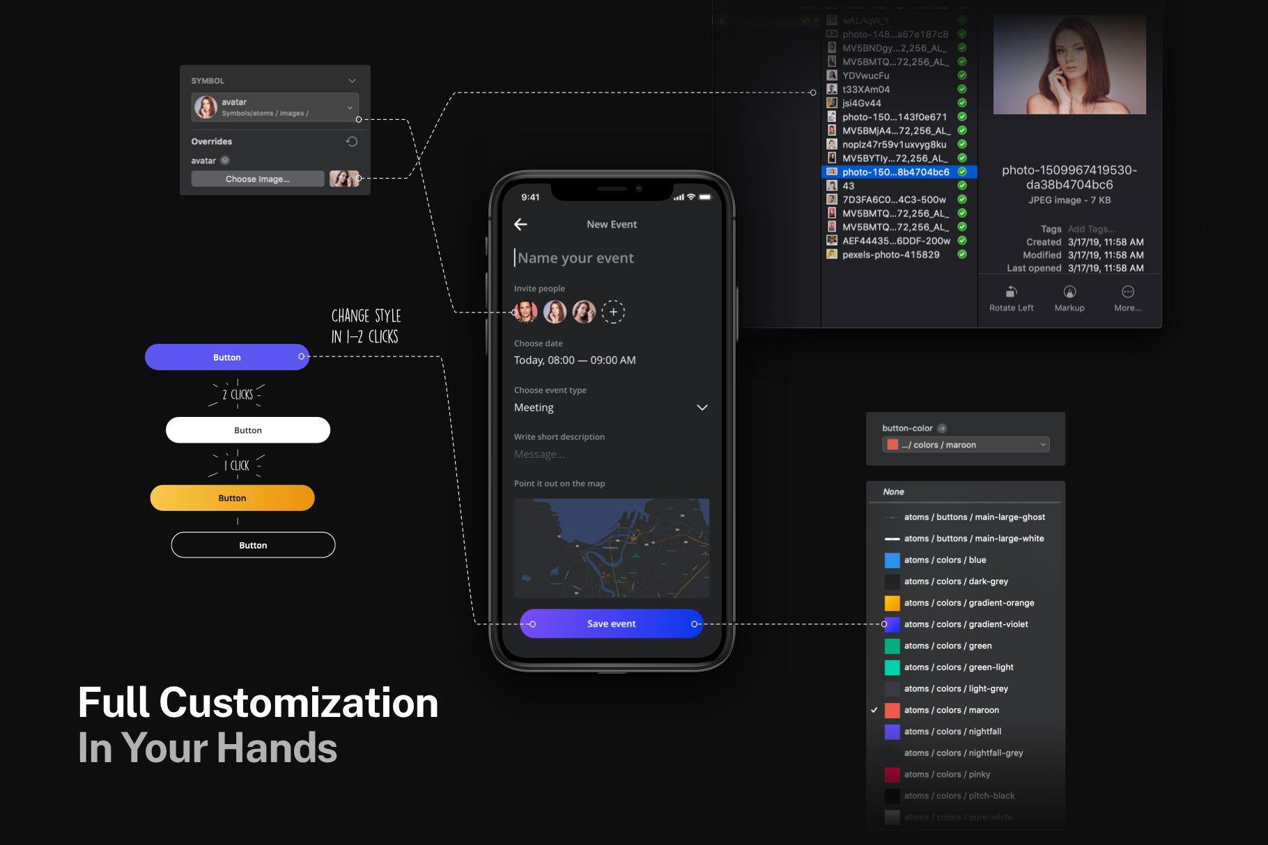 适用于iOS12风格的黑色元素设计系统UI nightfall iosdesign system v1.0