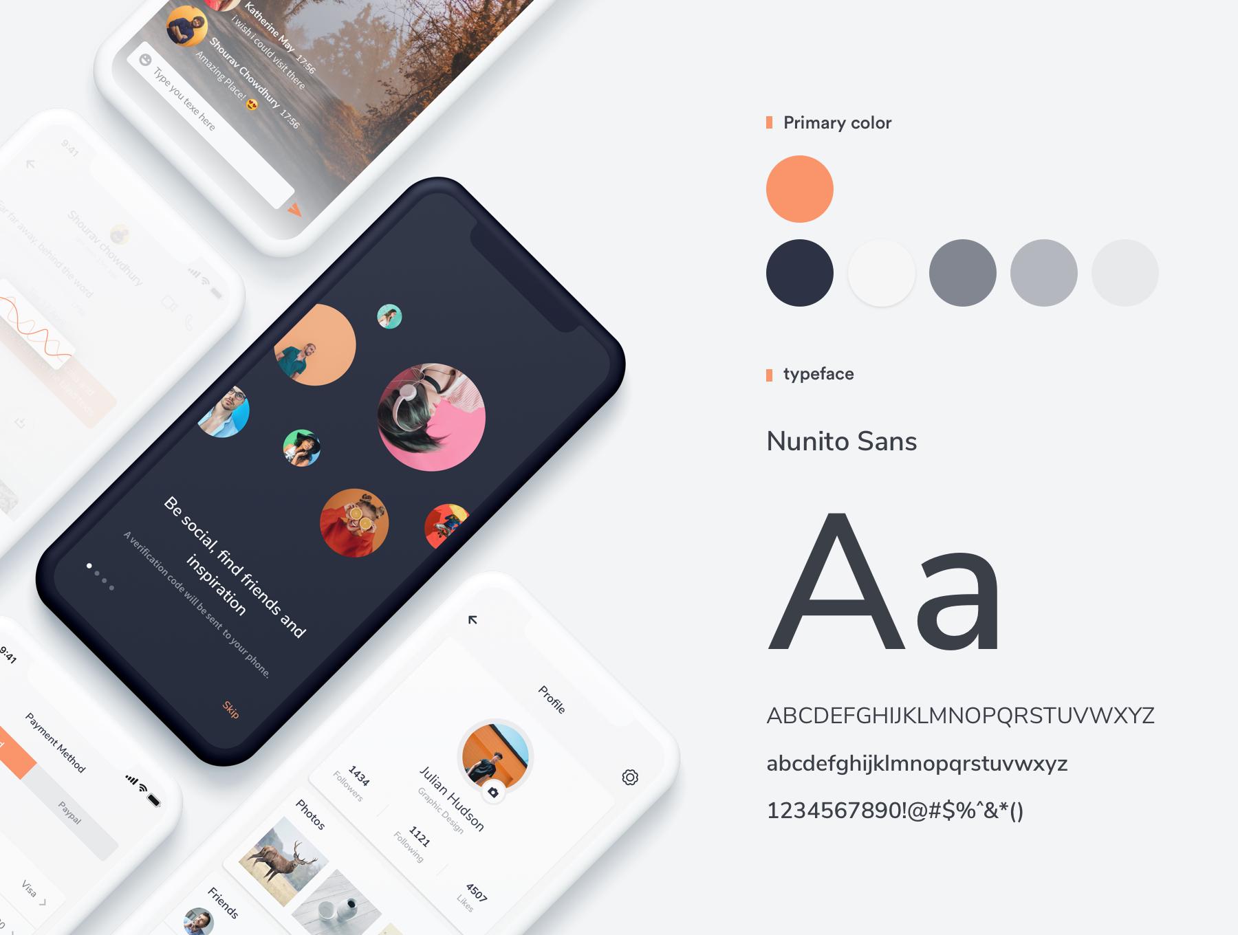 精致优雅社交产品APP 界面设计Socio IOS app ui kit