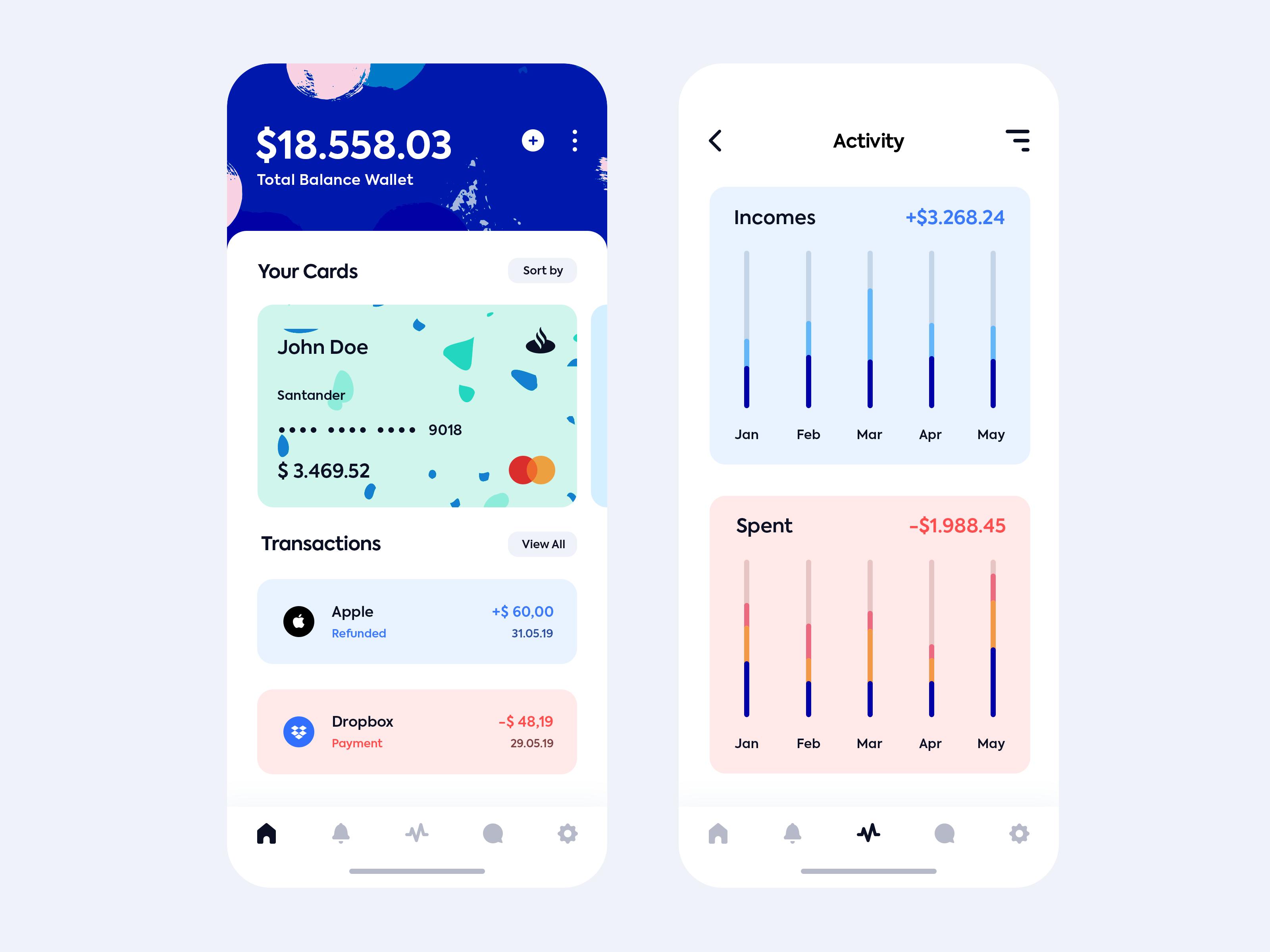 扁平化iOS风格金融支付钱包APP  Wallet App by Asylab PSD