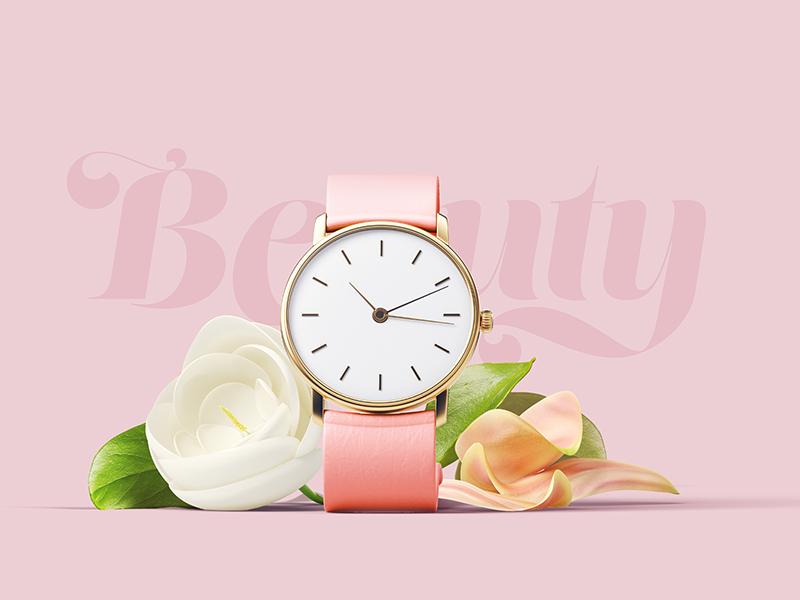 高端化妆品护肤品鲜花手表包装样机智能贴图样机Girly