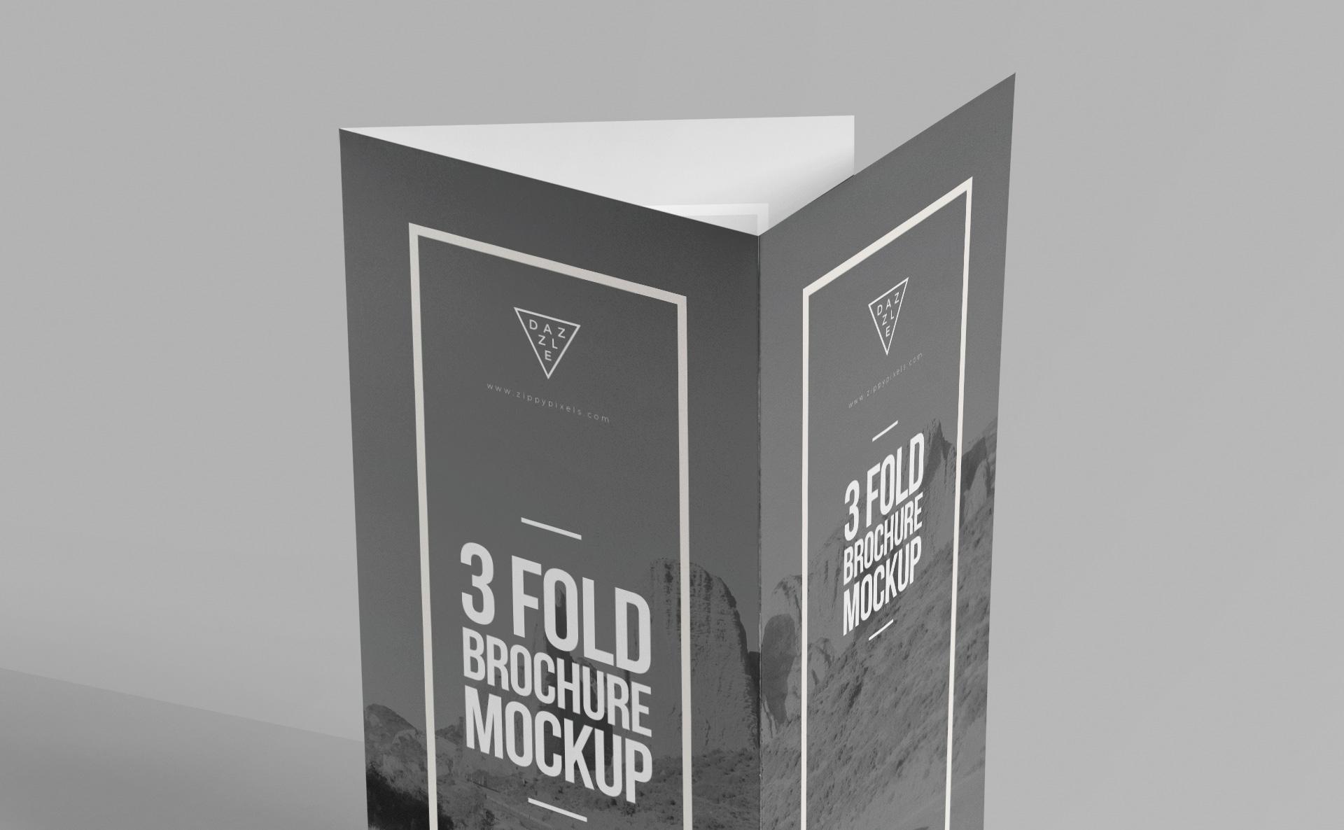 优雅的三折小册子样机智能贴图样机115-3-fold-brochure-mockup-free