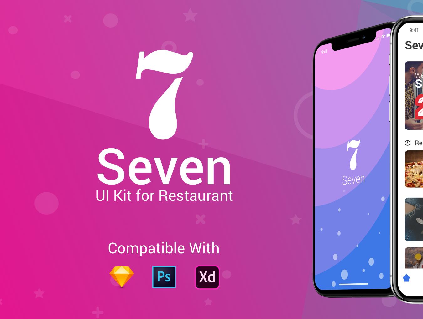 时尚简约IOS11风格饮食行业APP Seven Restaurant UI Kit
