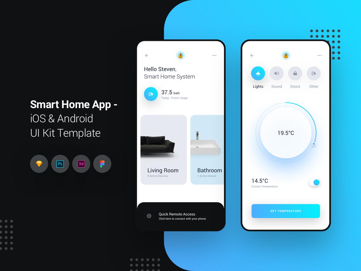 蓝色简约风格智能家居应用APP Smart Home APP iOS和Android UI