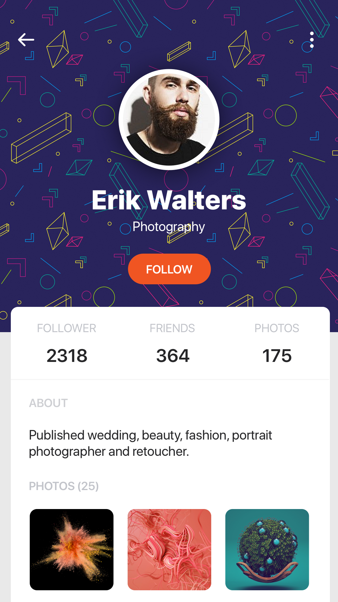 一款国外时尚分享类APP博客设计素材  Profiles Mocha UI Kit