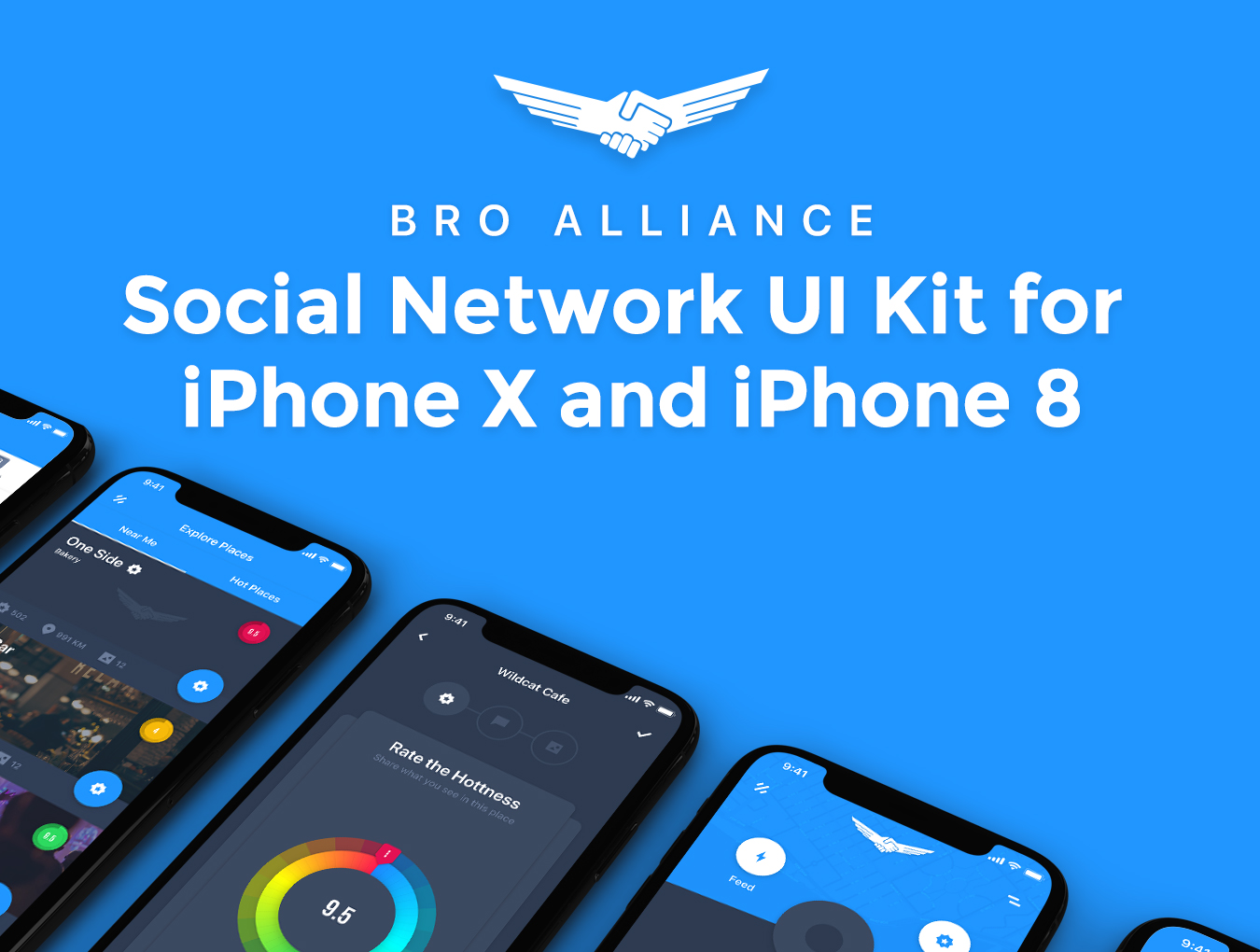 IOS11风格蓝色社交行业APP Bro Alliance iOS UI Kit