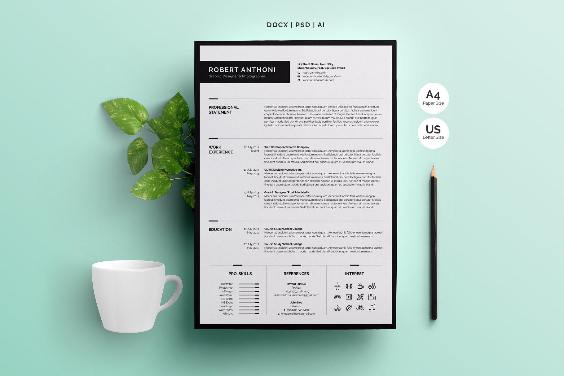 干净简洁的简历模板 Clean Resume Template 4 Pages