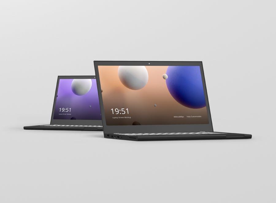 品牌笔记本电脑多角度样机展示效果Laptop Screen Mockup 2
