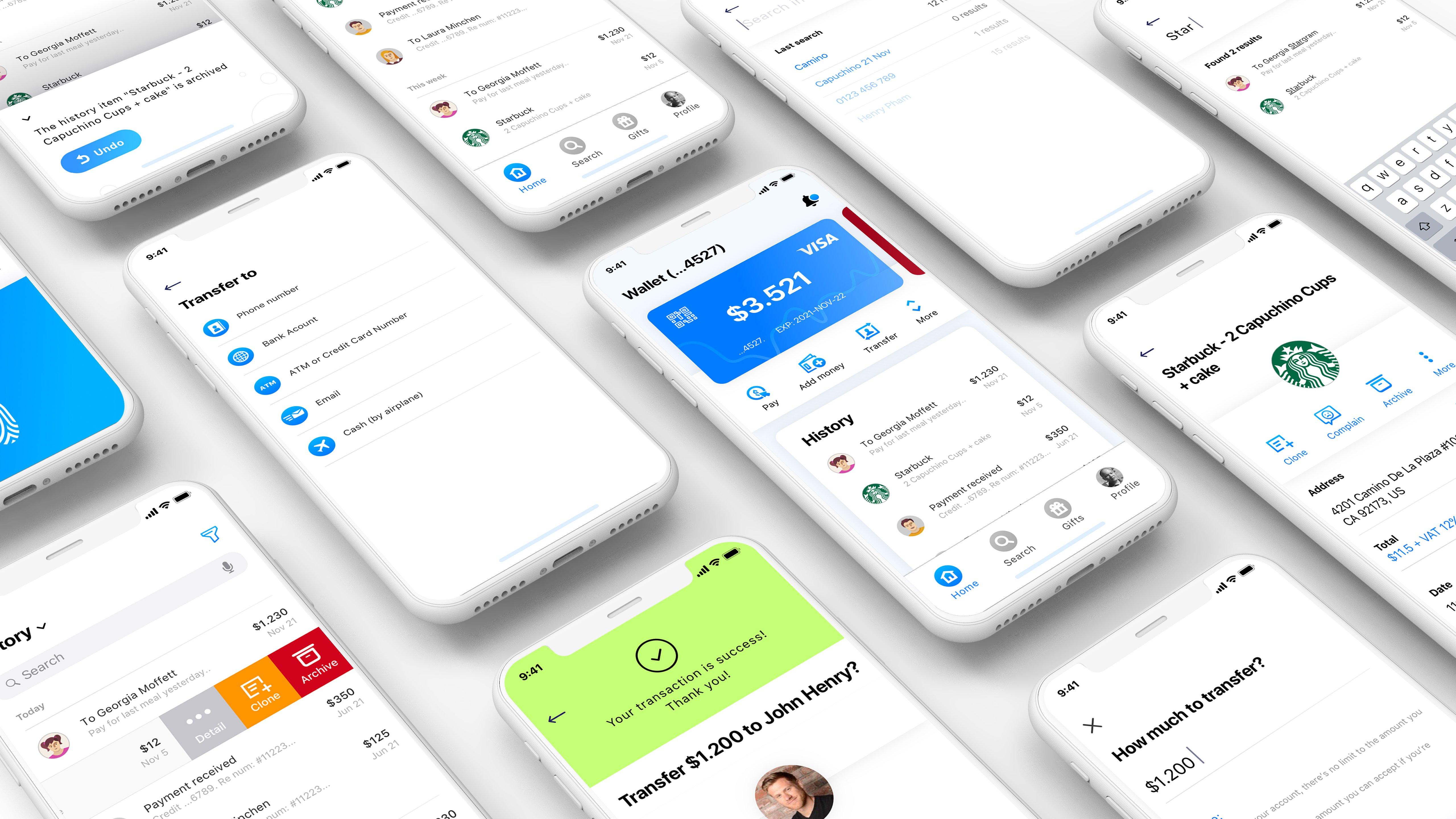 一款金融支付Mobi钱包应用APP ui设计  Mobi Wallet APP