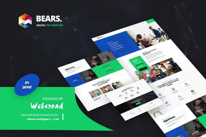 WEB端欧美现代风格商务网站PSD模版 Bear\'s - Digital PSD Template